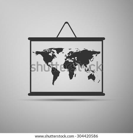 World map on blackboard icon on grey background. Vector Illustration - stock vector
