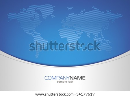 world map on blue background, mesh gradient - stock vector