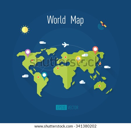 world map on blue background with marks ways pointers satellite airplane sun and clouds - vector illustration - stock vector