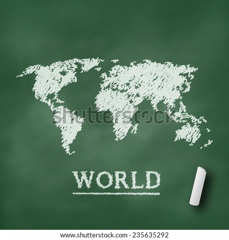 World map on chalkboard green in vector format - stock vector