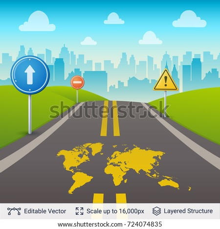 World map on city road road stock photo photo vector illustration world map on city road road view with map print vector template easy to publicscrutiny Images