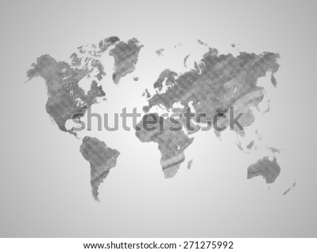 World map on grey. Vector background  - stock vector