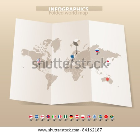 World map on old map and flags of different countries - stock vector