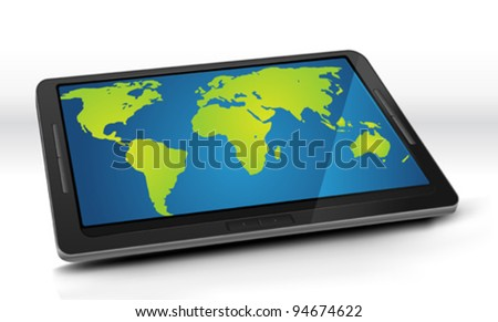 World Map On Tablet PC/ Illustration of a world map inside the screen of an elegant tablet pc