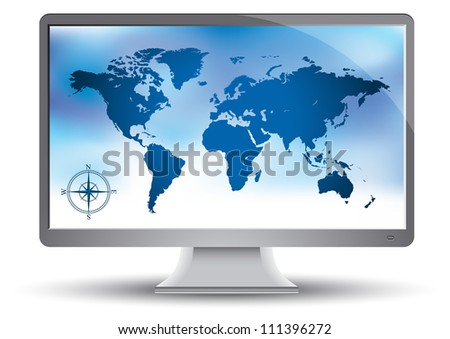 World map on the monitor - stock vector