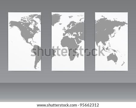 world map on wall - stock vector