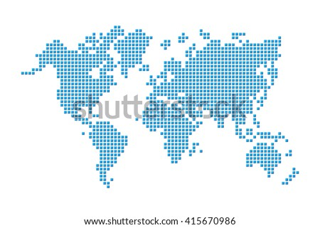 World map ( pixel style ) - stock vector