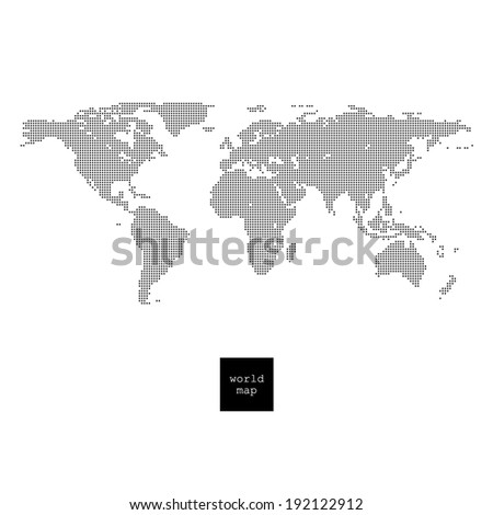 World map. Pixelated world map isolated on white - stock vector