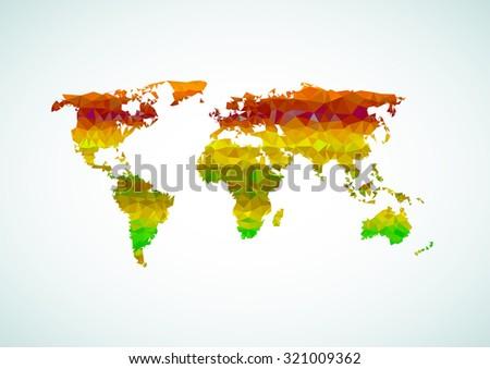 World map polygon easy all editable - stock vector