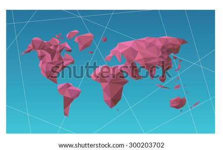 World map polygon illustrate vector graphic drawing    - stock vector