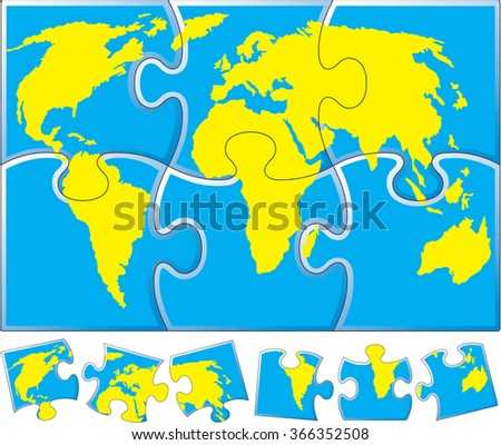 World map puzzle stock vector 366352508 shutterstock world map puzzle gumiabroncs Choice Image