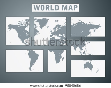 world map puzzle on wall - stock vector