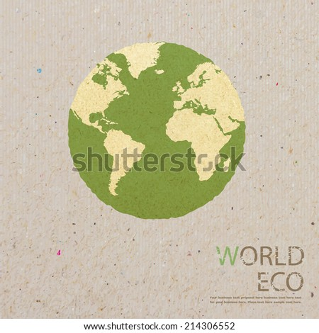 world map recycled paper craft stick on white background Data source: NASA  - stock vector