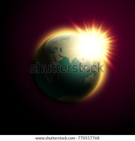 World map rising sun banner globe vectores en stock 770557768 world map rising sun banner globe icon in space sunlight poster planet earth on gumiabroncs Images