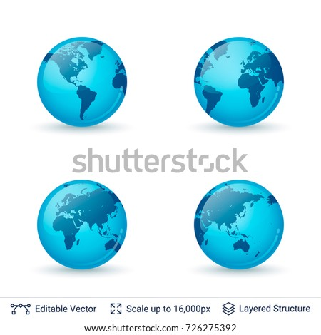 world map set earth globe with continents shapes vector symbols collection