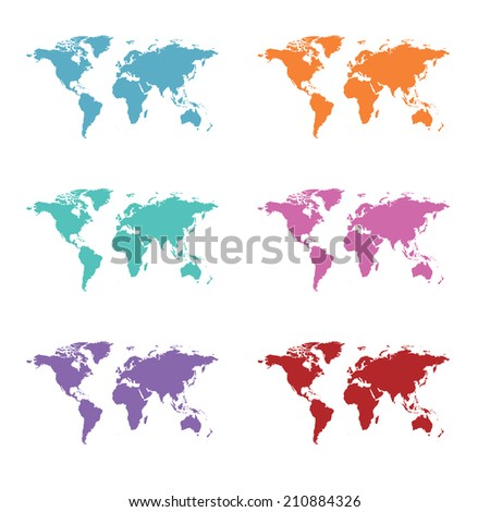 world map set, illustration in vector format