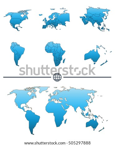 World map shape separated continents states vectores en stock world map shape and separated continents with states tuned in blue color gumiabroncs Choice Image