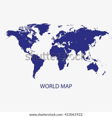 WORLD MAP silhouette illustration vector - stock vector