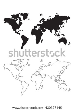World map silhouette line world map stock vector hd royalty free world map silhouette line of world map vector illustration gumiabroncs Image collections
