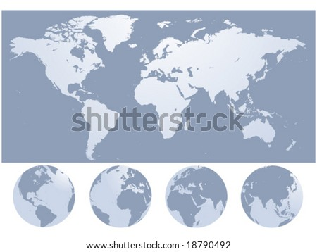 world map silhouette vector illustration - stock vector