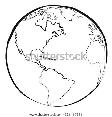 world map sketch vector - stock vector