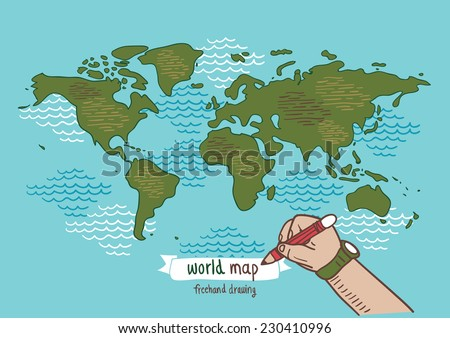 World map sketch vector, freehand drawing - stock vector