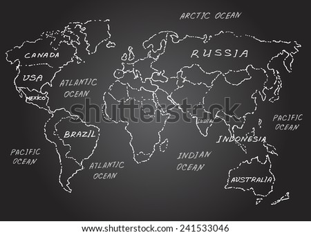 World map. Sketch. Vector illustration. Chalk on a blackboard. - stock vector
