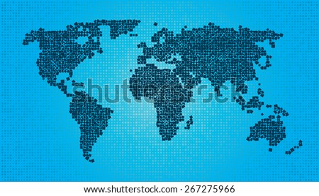 World Map - Squares Random size and rotation - stock vector