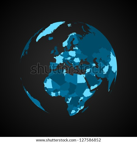 World Map Symbol with Nation Borders | EPS 10 Vector