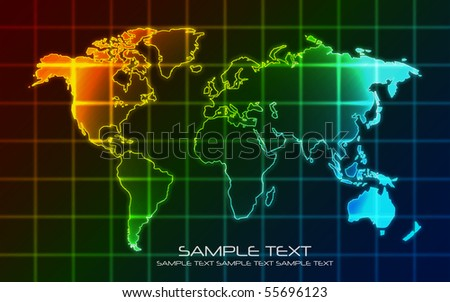 World Map - Technology  Background (Vector) - stock vector