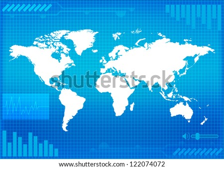 world map technology-style of vector