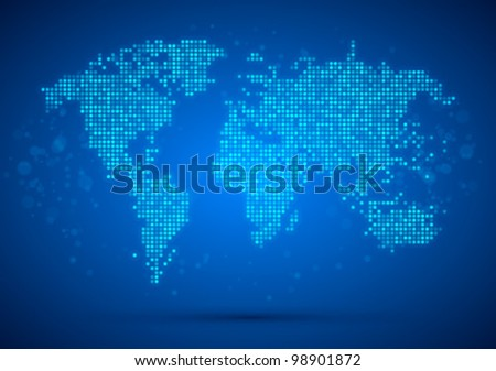 World map technology-style. Vector illustration. - stock vector