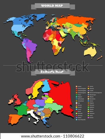 World map template. Every country is selectable - stock vector