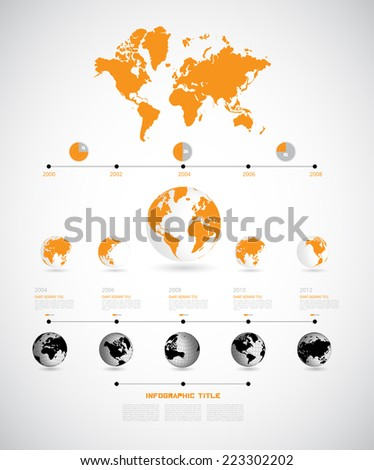 World map. Timeline Infographic. Vector design template - stock vector