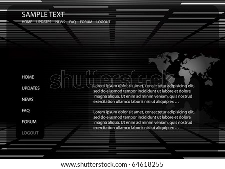 World map vector background  website template - Vector map and news background illustration - stock vector