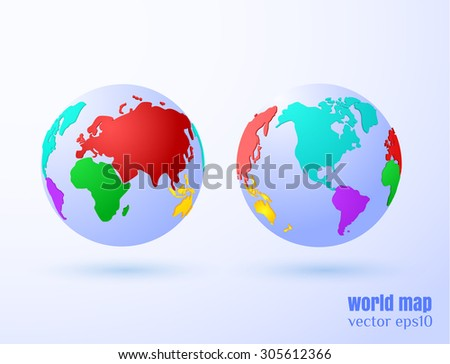 World map vector background. Western and eastern hemispheres.Eps10. - stock vector