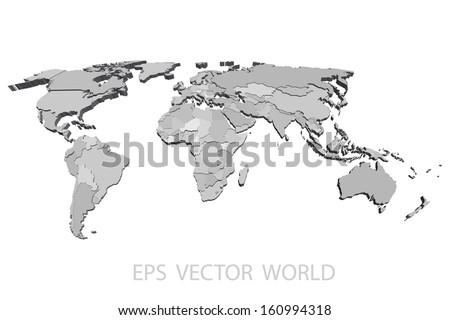 World map vector 3 d stock vector 160994318 shutterstock world map vector 3d gumiabroncs Choice Image
