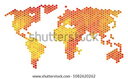 world map vector hex tile territorial stock vector 1082620262