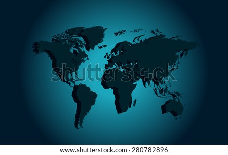 World map vector illustration blue neon / World map vector illustration blue neon