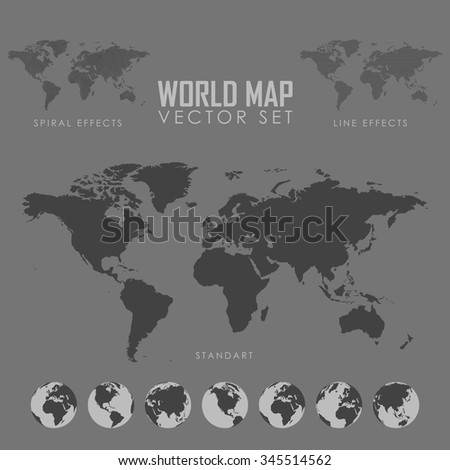 World map vector illustration. Globe map. Maps of different countries on the globe. Vector Illustration of gray globe icons with different continents - stock vector