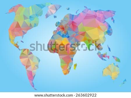 World Map vector illustration. Polygonal triangle geometric - stock vector