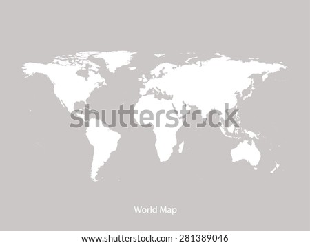 World map vector in faded grey background, World map outlines in contrasted light colors for brochure template, tourist map, advertisement, web page design, science and education uses - stock vector