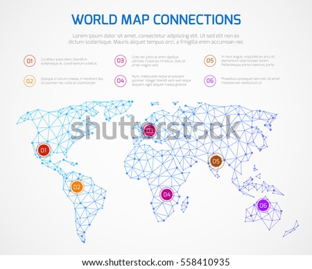 World map vector infographics template internet vectores en stock world map vector infographics template with internet connections map with connect point space network gumiabroncs Gallery