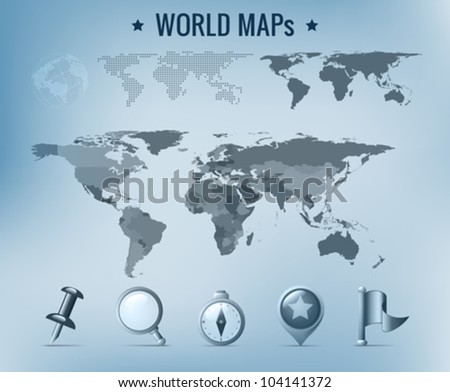 World map vector: political, dotted, solid. Navigation Icon pack. - stock vector