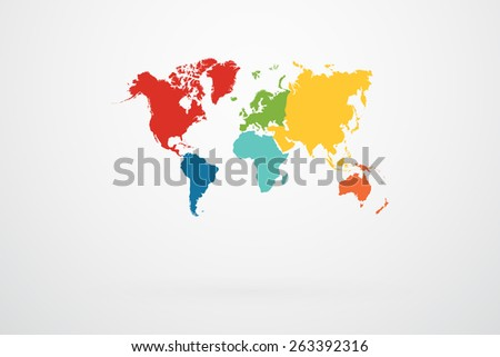 World Map Vector With Continent Border In Retro Color Palette - stock vector