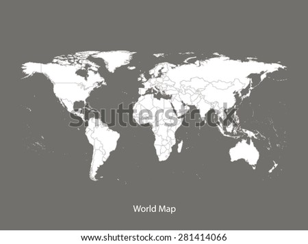 World map vector with countries in grey background, World map outlines in contrasted design for brochure template, tourist map, advertisement, web page design, science and education uses - stock vector