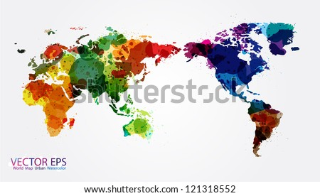 World Map Watercolor, Vector illustration - stock vector