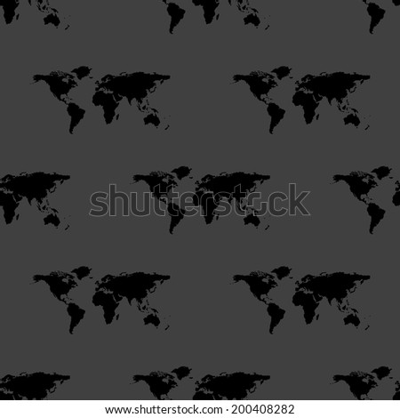 World map web icon. flat design. Seamless gray pattern. Vector EPS10 - stock vector