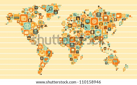 World Map with a set of social and media icons - stock vector