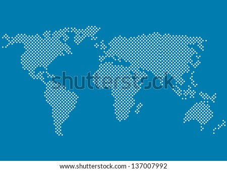world map with all continents made of small white dots isolated on blue background - stock vector